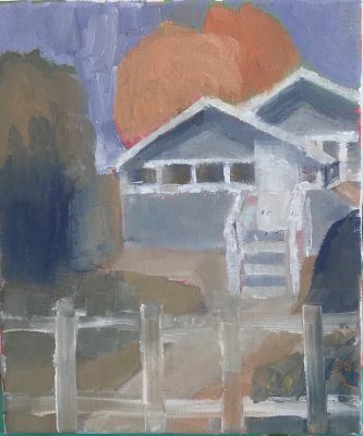 Oil Painting of Arts and Crafts House