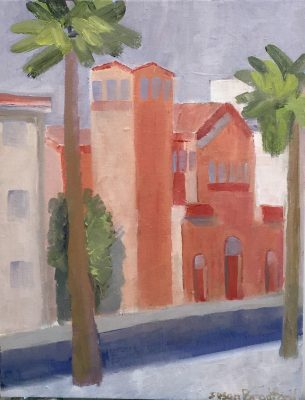 oil painting of church in Sicily