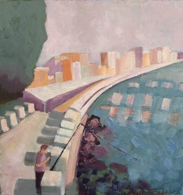 oil Painting of buildings and figure in Sicily