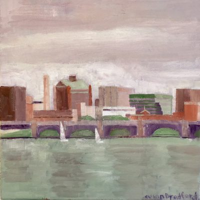 Oil Painting of buildings in Cambridge, MA