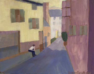 oil painting of figure and buildings in the south of France