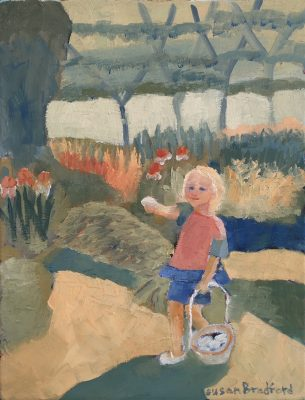 oil painting of child on Easter