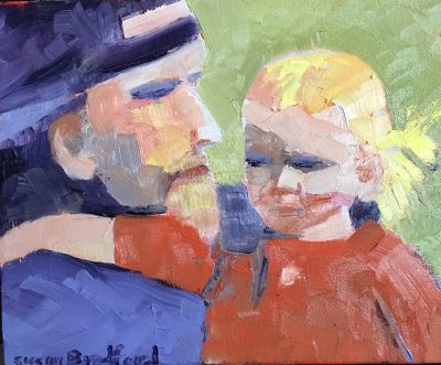 oil painting of figures, father and daughter