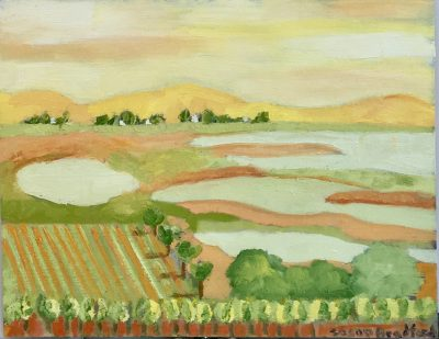 Oil Painting of the view from Viansa Vineyards