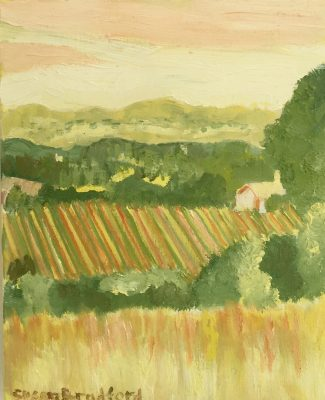 oil painting of chalk hill vineyards