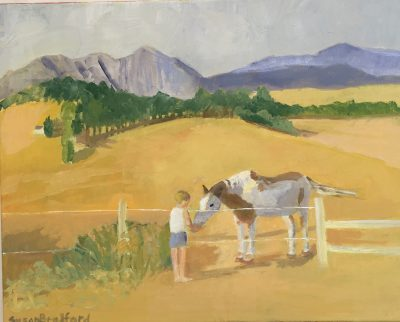 oil painting of figure and horse