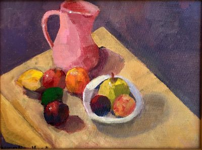 Acrylic Still Life Painting of pitcher, bowl, fruit
