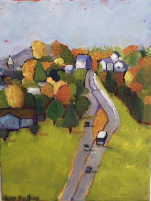 Oil Painting of Danville, Vermont in October, 14 x 11